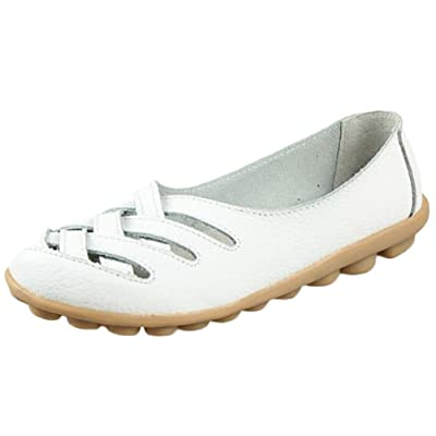 Mordenmiss Women's Casual Driving Loafer Hollow Flats Silp-on Carving Moccasins White 44: Clothing