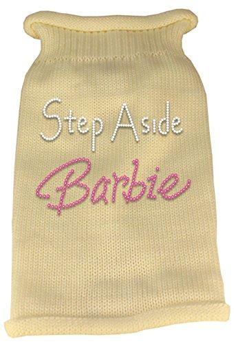 Mirage Pet Products Step Aside Barbie Rhinestone Knit Pet Sweater, Large, Cream