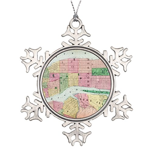 Kamider Best Friend Snowflake Ornaments Beers street map of New York City 1873 Christmas Home Decoration World