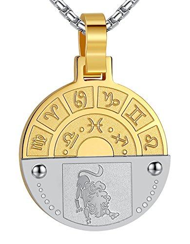 - Stainless Steel Leo Zodiac Horoscope Sign Pendant Necklace, Unisex, 21