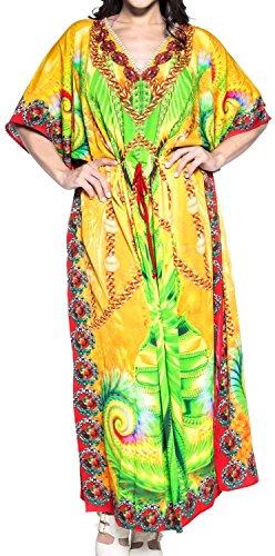 LA LEELA Trajes de baño del Traje de baño del Vestido caftán caftán Camisa de Dormir Aloha rayón Mano Maxi de Las Mujeres Multicolor_v545