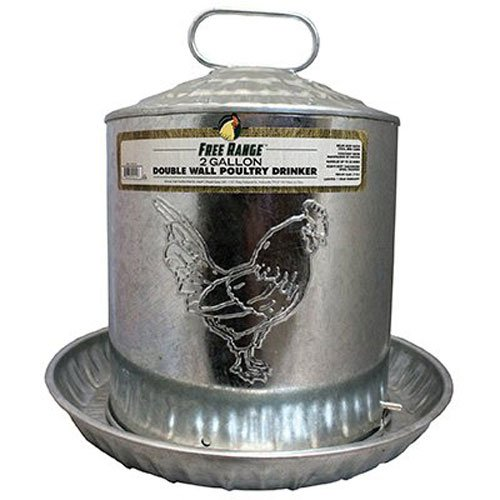 Free Range Galvanized Double Wall Poultry Drinker, 2 gallon