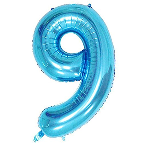 Tellpet Blue Number 9 Balloon, 40 Inch