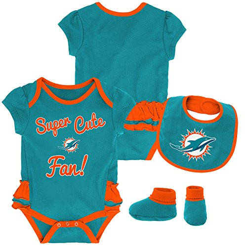Infant Aqua Apparel - Outerstuff NFL NFL Miami Dolphins Newborn & Infant Mini Trifecta Bodysuit, Bib, and Bootie Set Aqua, 18 Months