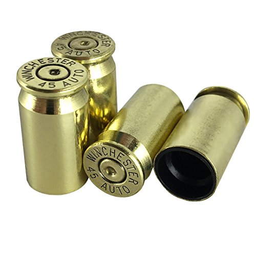 OPG3 Real Bullet Valve Stem Caps Set of 4 Custom Brass Authentic Quality Gold Chrome Polished Silver Anodized Black Aluminum Bullet Easy Screw On Tire Covers Car Wheel Truck Caps (Brass)