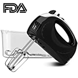 Hand Mixer, Chitomax 5-Speed Electric Hand Mixer with Turbo Hand-held Mixers Includes Beaters, Dough Hooks and Storage Case (Black)