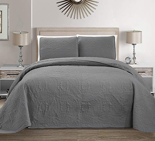 MK Home Mk Collection 3pc King/California King Solid Embossed Bedspread Bed Cover Over Size Light Grey