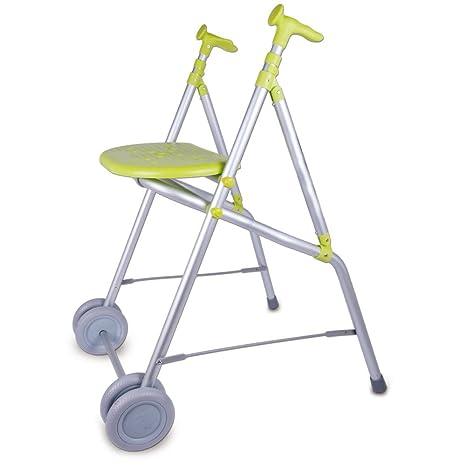 Andador con ruedas y asiento de aluminio plegable Forta pistacho