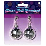 Amscan Swinging' 70's Fashion Silver Disco Ball Earrings Party Accessories, Silver, 5.5' x 4.7'