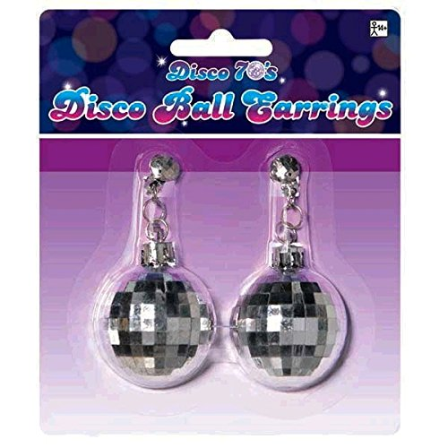 70's Theme Party Costume (Amscan Swinging' 70's Fashion Silver Disco Ball Earrings Party Accessories, Silver, 5.5