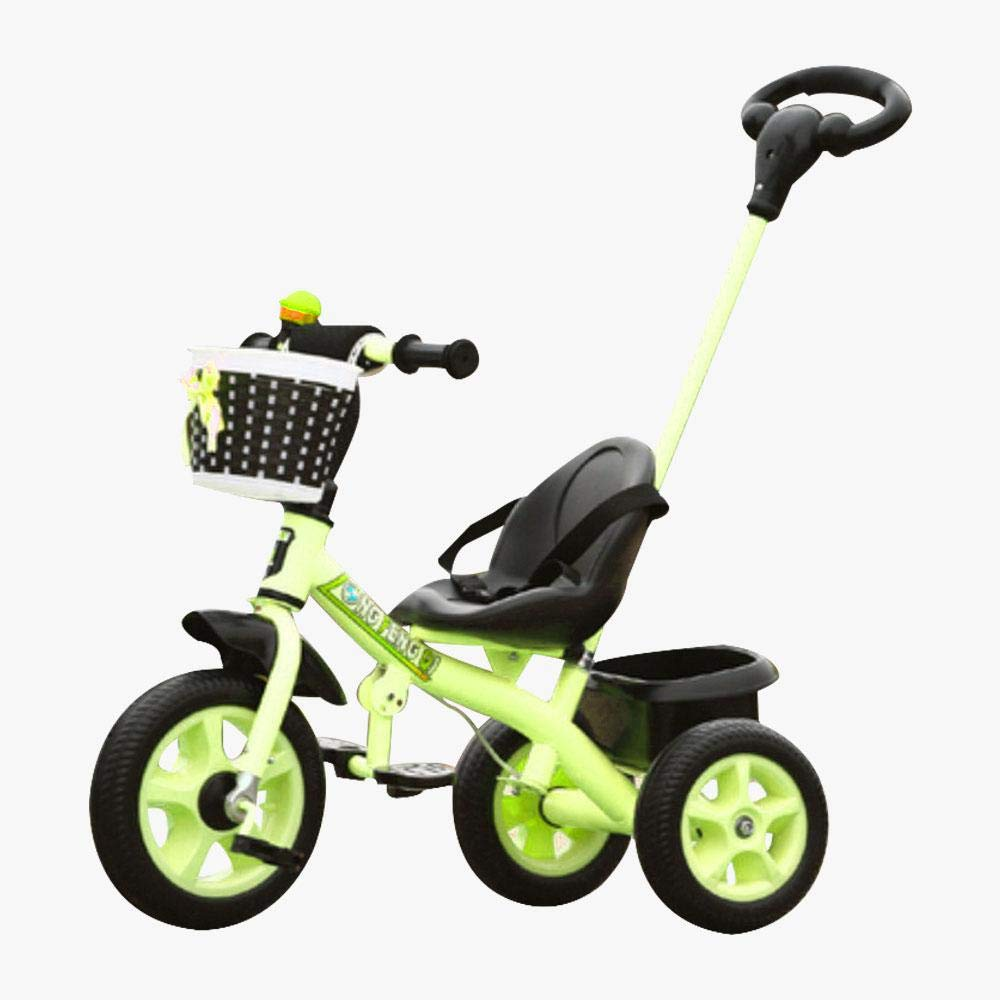Birthday Gifts for 1 2 3 4 5 Years Old 3 in 1 Push and Ride Stroller Trike Bike with Storage Bin for Kids Toddler lesgos Baby Tricycle with Push Handle Green
