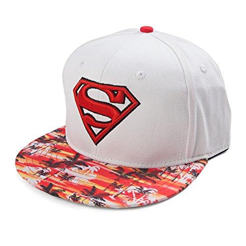 Superman Men's Hawaiian Print Visor and Logo Flat Brim Snap Back, White, One Size