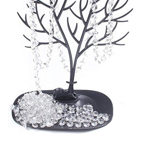(BIHRTC 19.7ft Clear Crystal Glass Octagon Beads Strands Hanging Ornament for Wedding Table Centerpieces Wishing Tree Garland Christmas Decoration Chandelier Candelabra Decor)