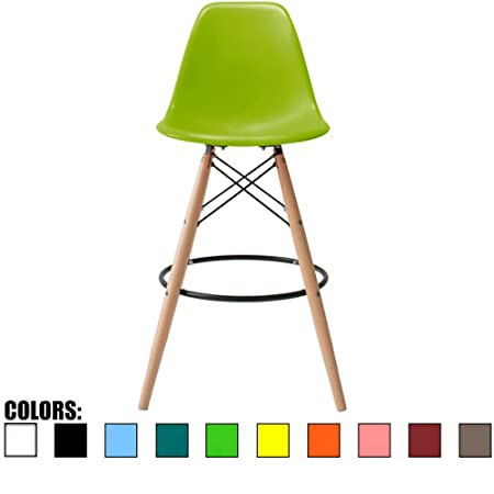 2xhome BarRay Green Eames Style Modern Mid Century Armless with Back Bar Stool Height Counter Chair with Natural Wood Legs 28 ,