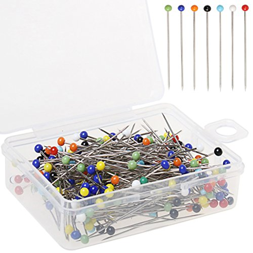 (Color Scissor 250 Pieces Sewing Pins Ball Glass Head Pins Straight Quilting Pins For Dressmaker Jewelry Decoration)