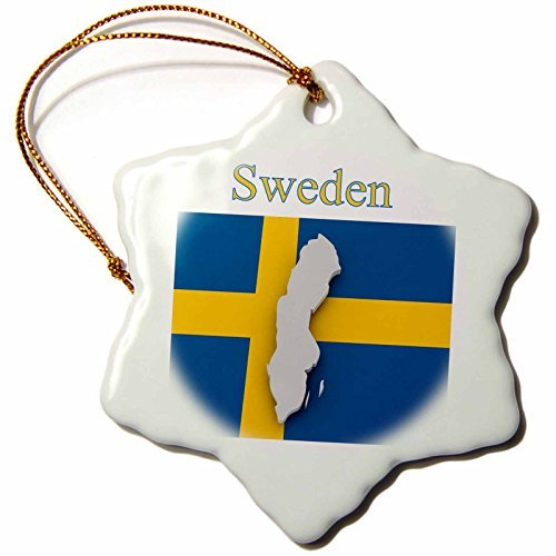 Florene Maps In Exotic Outline - Image of Exotic Sweden Map On Swedish Flag - 3 inch Snowflake Porcelain Ornament (243570_1) ()