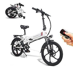 51kC0nHZphL. SS300 SAMEBIKE - Bicicletta elettrica con telecomando, 20 pollici, in alluminio Pro Smart Folding portatile, 48 V, 10 Ah…