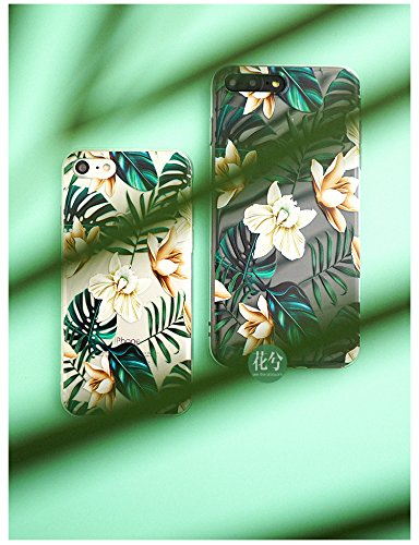 iPhone 8 Plus(7 Plus) Bahama Leaves Aloha Love Summer Tropical Coffee Floral Clear Rubber Case for iPhone 7 Plus-Colored Vintage Flower Floral Japanese Cherry Blossom Roses iPhone 8 Plus Case Photo #5