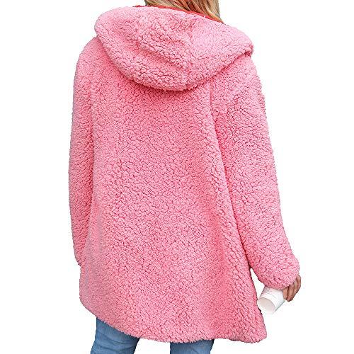 Capispalla Donna Dichroic Parka Bcfuda Sintetica Donna✿cappotti Cardigan Rosa Calda Lana Cappotti Con Winter Invernali Cappuccio Giacca LAS53cq4Rj