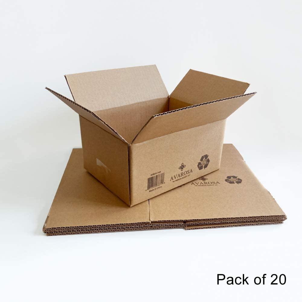 Solid and Durable Avarosa Cardboard Boxes Pack of 20 8x6x4 Shipping Boxes Premium Quality and High Performance. Single-Wall Corrugated