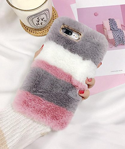 Losin Plush Case Compatible with Apple iPhone 7 Plus / iPhone 8 Plus 5.5 Inch Fashion Luxury Cute Colorful Fuzzy Furry Winter Rabbit Hair Warm Plush Fluffy Fur Soft TPU Back case