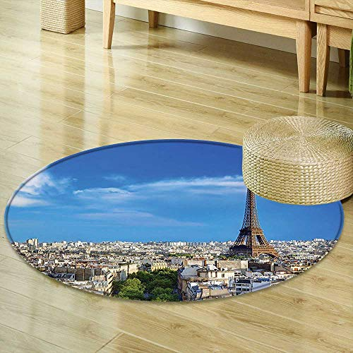 Rug Eiffel Tower Decor Collection Rooftop View on The Eiffel Tower from Arc de Triomphe Sunny Day Clear Sky Cityscape Blue Beige Living Dinning Room & Bedroom Rugs R-24 ()