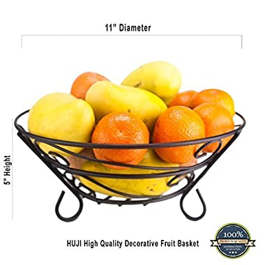 Huji Sturdy Scroll Design Fruit Basket Storage Bowl (1)