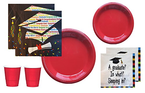 Food Graduate Kindergarten (Graduation Party Supplies 2018 Black Blue Red Multi Colored Disposable Tableware Large And Small Plastic Plates Napkins Cups For 18-20 Guests)