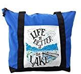 Lunarable Cabin Shoulder Bag, Life is Better at the Lake, Durable with Zipper