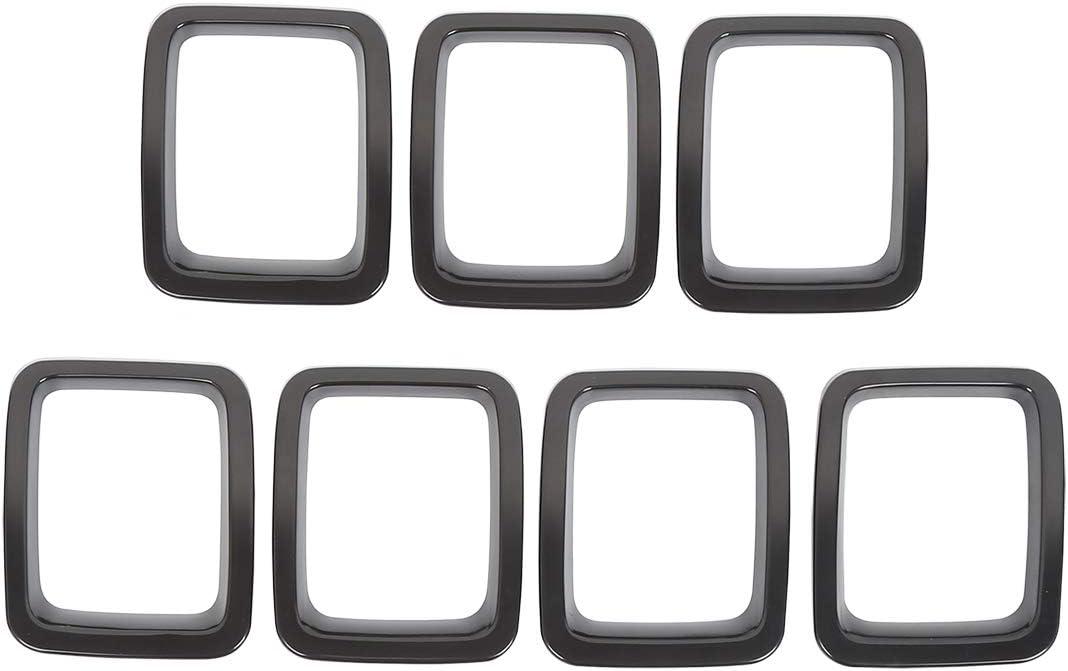 X AUTOHAUX 7Pcs Matte Black Front Grille Inserts Sticky Cover Trim for 2017-2019 Jeep Compass