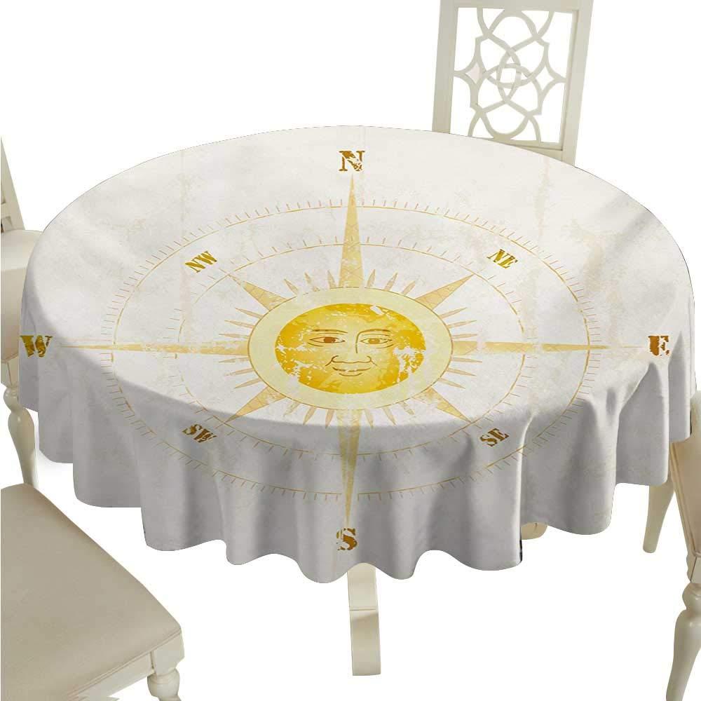 コンパス お手入れ簡単 テーブルクロス 海のナビゲーション テンペストの絵 大きな波 アドベンチャー 旅 キッチン ダイニング テーブルトップ 装飾 D36 ナイトブルー ホワイト D70