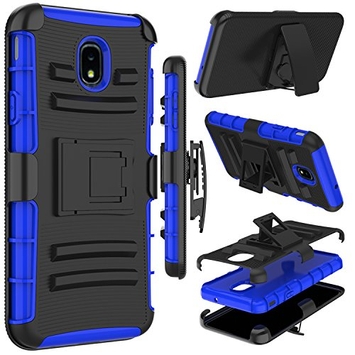 Galaxy J7 Crown Case, Galaxy J7 Refine Case, Galaxy J7 Star Case, Zenic Heavy Duty Shockproof Full-Body Protective Hybrid Case with Swivel Belt Clip and Kickstand for Galaxy J7 2018 (Blue)