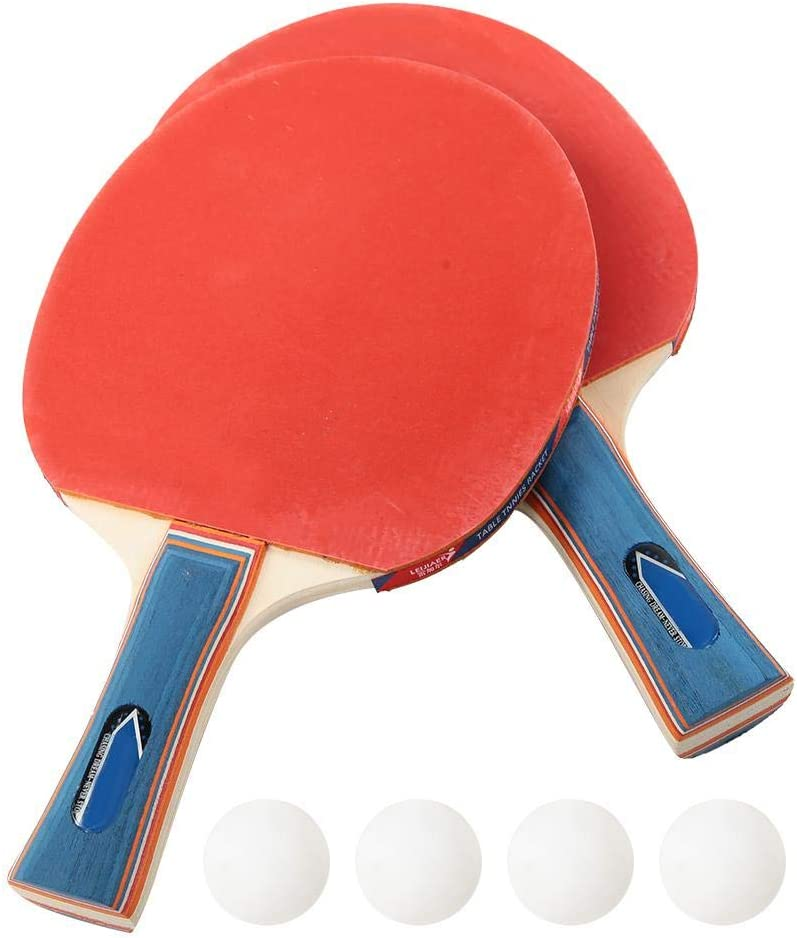 Raqueta de Tenis de Mesa, Raqueta de Ping-Pong Juego de 2 Jugadores Juego de Ping-Pong de Entrenamiento Duradero con 2 Raquetas y 4 Pelotas Equipamiento Deportivo