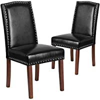Flash Furniture 2 Pk. HERCULES Hampton Hill Series Black Leather Parsons Chair with Silver Nail Heads