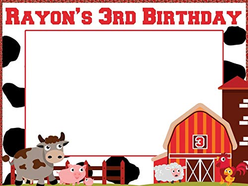 Custom Barnyard Farm Birthday Photo Booth Prop - Sizes 36x24, 48x36; Personalized barn Birthday, Farm party, Animal Kids Birthday, cow Photo Booth Frame, selfie frame; Handmade photo booth ()