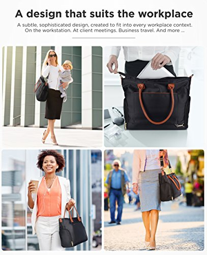 Breast Pump Bag for Work with Rich Tan Handles Staging Mat Sophisticated Design That Suits Workplace Thermally Lined Compartments Perfect Gift for New Moms (Solid Black) by flybold (Image #2)