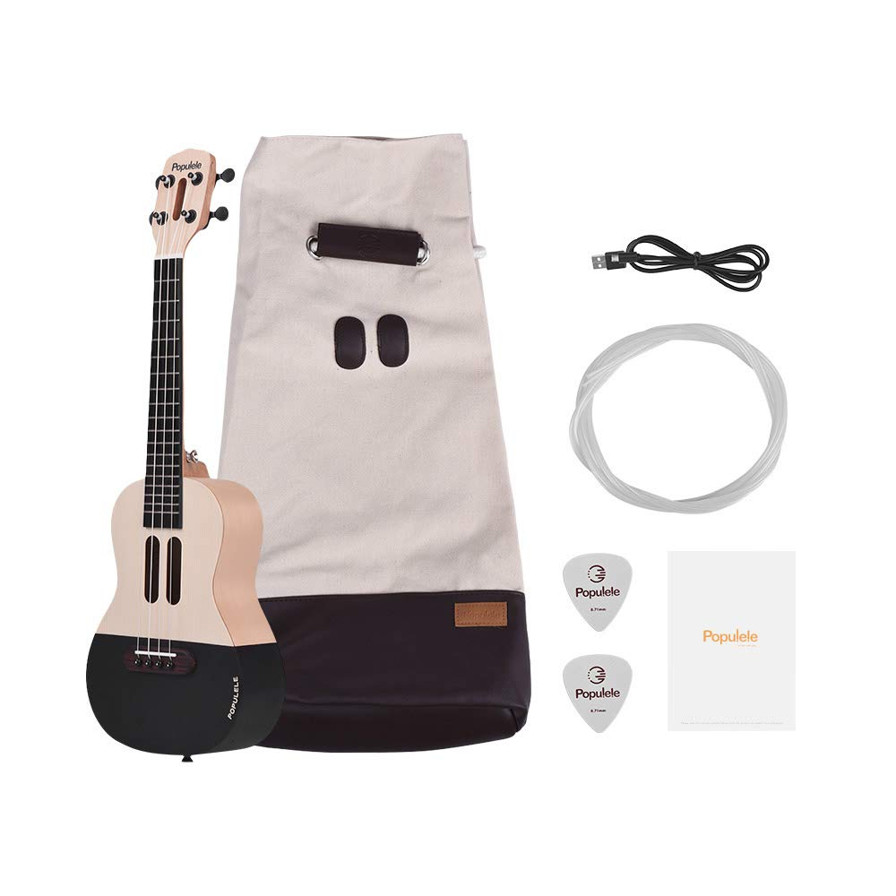 ammoon Populele U1 23 inch Acoustic Uke Kit Electric Smart Ukulele Supports APP Teaching Bluetooth Connection ABS Fretboard with LED light for Beginners
