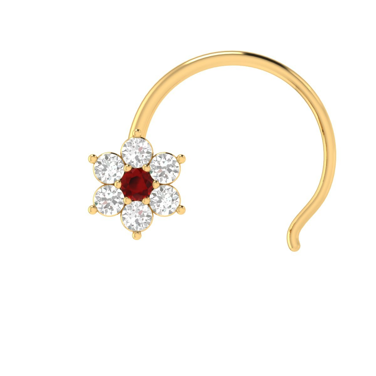 Animas Jewels DGLA Certified 14k Yellow Gold Flower Nose Pin Ring for Women 0.08 Cttw Natural Diamond (G-H Color. SI Clarity) and Red Ruby Round Cut Single Prong Setting by Animas Jewels