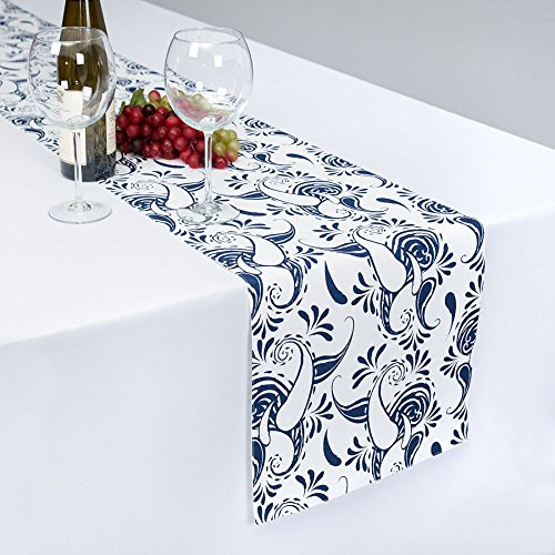(13 x 90 in. White with Navy Blue Paisley Table Runner)