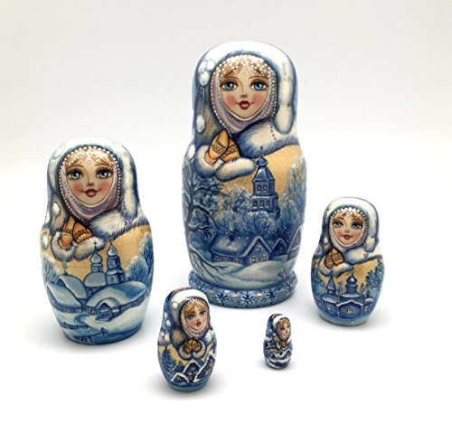 Unique One of the Kind Russian Nesting dolls ''Snow girl'' Hand Carved Hand Painted 5 piece set by BuyRussianGifts (Image #7)