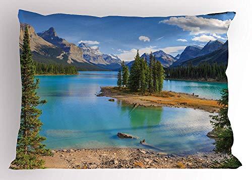 (Tigeaslg Landscape Pillow Sham, Maligne Lake in Jasper Natioanal Park Alberta Canada Summer Day Outdoor Picture, Decorative Standard Queen Size Printed Pillowcase, 30 X 20 inches, Green)