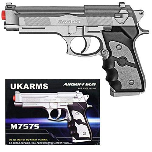 AirSoft M757S Silver Spring Powered Pistol Hand Gun Beretta 6mm BB 9mm ()