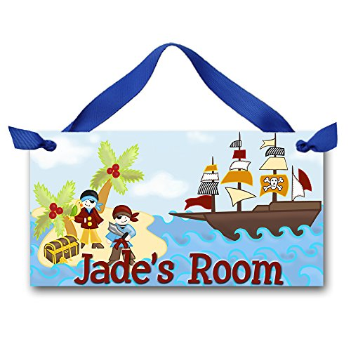 Toad and Lily ARghhhhHH Mat-ey Pirate Boys Bedroom Door Sign Personalized Name DOOR SIGN DS0126 -