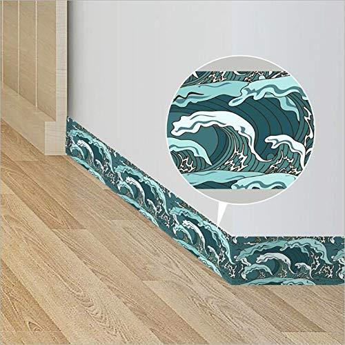 HYXLN New Style Eco-Friendly PVC Waves Border Roll Fashion Decorative Baseboard Sticker Bathroom Washstand Kitchen Bedroom Decoration