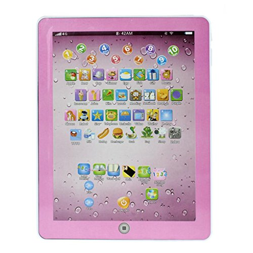 Greenery Mini Imitative iPad Tablet Toy, Electronic Educational Early Learning Computer Machine Toy Touch Screen Intelligent Study Device for Toddler Kids Over 3 Years, Christmas Gift, Pink+White by Greenery