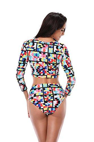 c7508fd326fd3 GOKKO Charm Plus Size Long Sleeve Swimwear Split High Waist Swimsuit Bikini  Beachwear (Color 3