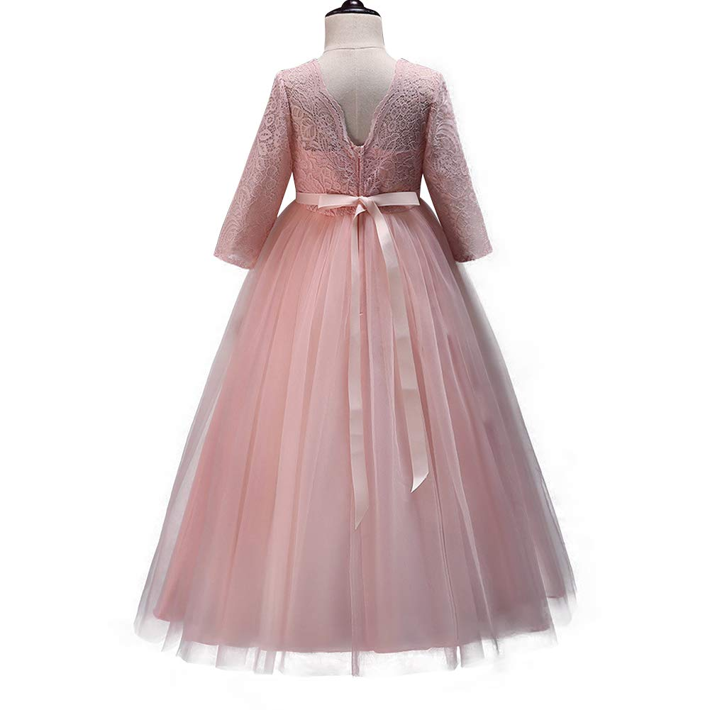 df336a59fc0c8 IBTOM CASTLE Girls Flower Party Dress Long Princess Gown Tulle Lace Wedding  Evening Formal Pageant Dress 3/4 Sleeve