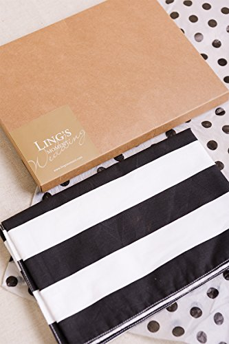 Ling's moment Classic 1 Inch Black and White Striped Table Runner, 12 x 72 Inches, 100% Cotton Machine Washable Colorfast by Ling's moment (Image #6)