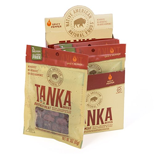 Meat Bar Bites with Buffalo and Cranberries by Tanka, Spicy Pepper, Beef Jerky Alternative, Gluten Free Snacks, Paleo, 3 Ounce Bag, Pack of 6