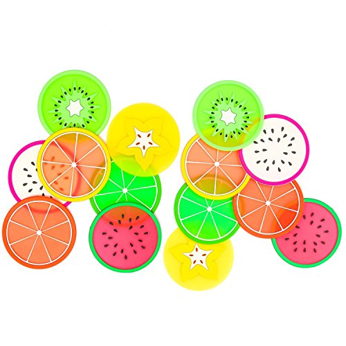 Kite Chaser 14 Pack Silicone Fruit Drink Coasters, Non Slip Coasters for Drinks Cute Coasters for Your Bar, Kitchen and Patio